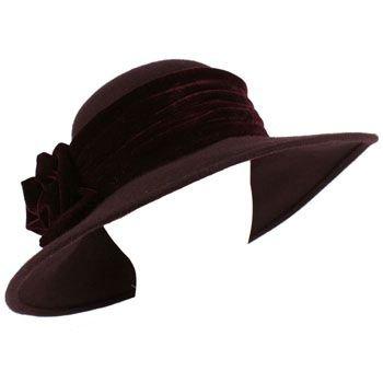 100% Wool Winter Velvet Floral Hatband Wide Brim Floppy Bucket Church Hat Purple