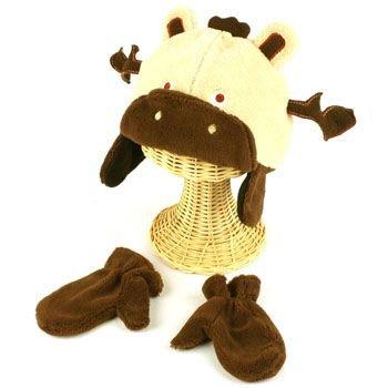 Winter Child Baby 0-1 Animal Deer Ski Trapper Beanie Lined Hat w Mitten Gloves