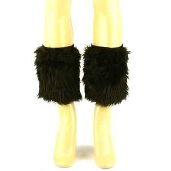 Winter Faux Fur Fuzzy Dance Ski Leg Warmer Short Boot Shoe Covers Elastic Black