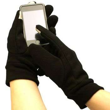 Men's Winter Fleece Magic Touch Screen Thumb Index Technology Gloves Black L/XL