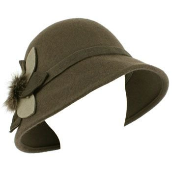 100% Wool Real Fur Floral Winter Structured Cloche Bucket Bell Church Hat Gray