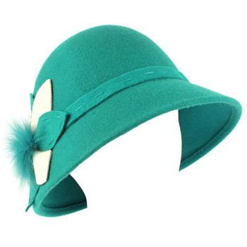 100% Wool Real Fur Floral Winter Structured Cloche Bucket Bell Church Hat Teal