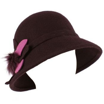 100% Wool Real Fur Floral Winter Structured Cloche Bucket Bell Church Hat Purple