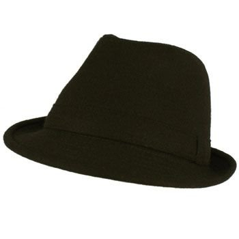 Men's Winter Classic Wool Solid Fedora Trilby Gangster Mobster Cap Hat Black L