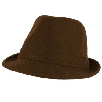 Men's Winter Classic Wool Solid Fedora Trilby Gangster Mob Cap Hat Brown S/M