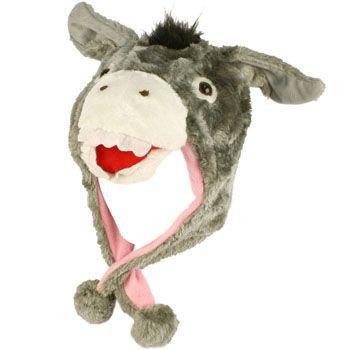 Faux Fake Fur Animal Plush Donkey Trooper Trapper Slip Tie Ski Snow Pom pom Hat