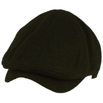 Men's Winter Wool Snap Open Duck Bill Curved Ivy Cabby Driver Hat Cap Black S/M