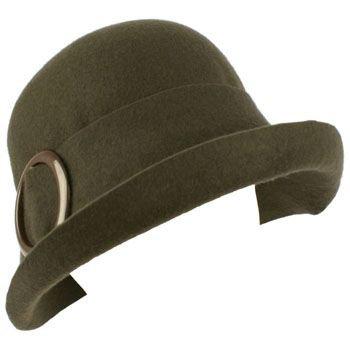 100% Wool Winter Structured Upturn Brim Cloche Bucket Bell Belt Church Hat Gray