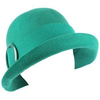 100% Wool Winter Structured Upturn Brim Cloche Bucket Bell Belt Church Hat Teal