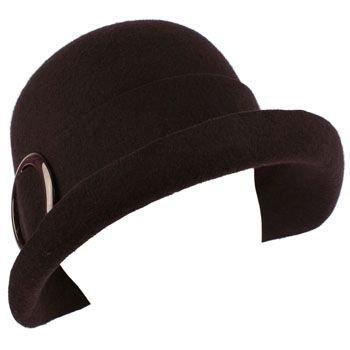 100% Wool Winter Structured Upturn Brim Cloche Bucket Bell Church Hat Purple