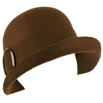 100% Wool Winter Structured Upturn Brim Cloche Bucket Bell Church Hat Brown