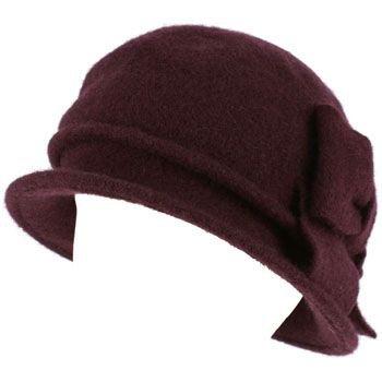 100% Wool Winter Cloche Bucket Ribbon Bow Crushable Wire Brim Church Hat Purple