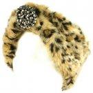 Winter Faux Animal Fur Removable Rhinestone Brooch Ski Headwrap Headband Cheetah