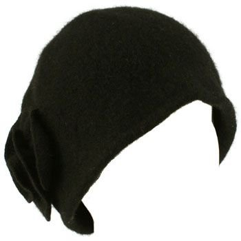 100% Wool Winter Cloche Crushable Foldable Bucket Flower Church Hat Cap Black ML