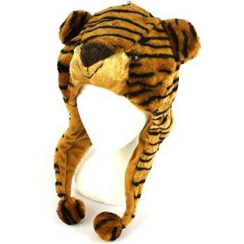 Faux Fake Fur Animal Plush Brown Tiger Trooper Trapper Slip Tie Ski Cap Hat