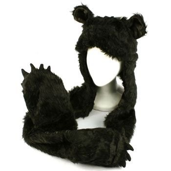 Winter Faux Fake Fuzzy Animal Fur Scarf Trapper Hat w/ Paw Gloves Mittens Black