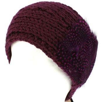 Real Long Feathers Adjustable Hand Knit Handmade Headwrap Headband Ski Purple