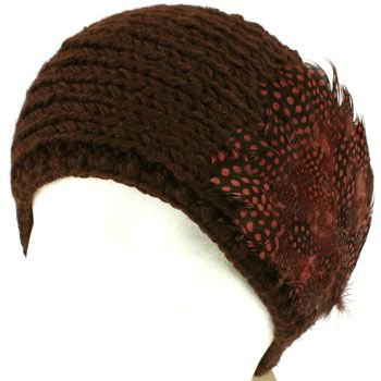 Real Long Feathers Adjustable Hand Knit Handmade Headwrap Headband Ski Brown