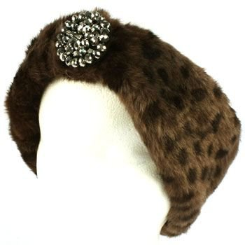 Winter Faux Animal Fur Removable Rhinestone Brooch Ski Headwrap Headband Leopard