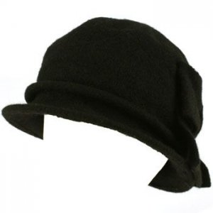 100% Wool Winter Cloche Bucket Ribbon Bow Crushable Wire Brim Church Hat Black