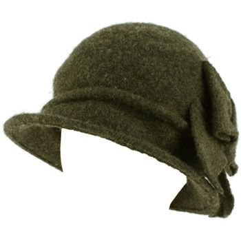100% Wool Winter Cloche Bucket Ribbon Bow Crushable Wire Brim Church Hat Gray