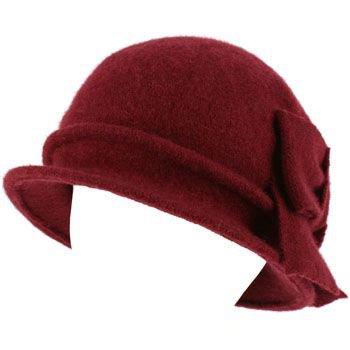 100% Wool Winter Cloche Bucket Ribbon Bow Crushable Wire Brim Church Hat Wine