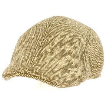Men's Wool Blend Winter Duck Bill Ivy Cabby Driver Herringbone Hat Cap Brown M/L