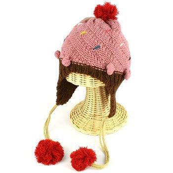 Winter Cupcake Pompom Ski Toddler Kids Girl 1-5 age Knit Trapper Beanie Hat Pink