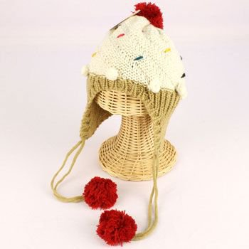 Winter Cupcake Pompom Toddler Kids Girl 1-5 age Knit Trapper Beanie Hat Ivory