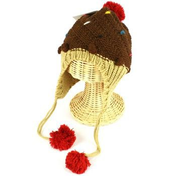 Winter Cupcake Pompom Toddler Kids Girl 1-5 age Knit Trapper Beanie Hat Brown