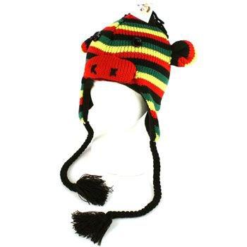 Winter Knit Monkey Rasta w Hair Animal Trooper Trapper Lined Ski Tassel Hat Cap