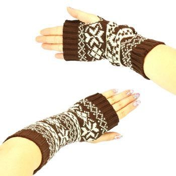 Winter Thumb Hole Knit Hand Arm Warmer Fingerless Snowflake Long Gloves Brown