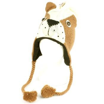 Winter Knit Boxer Dog Animal Trooper Trapper Lined Ski Pom pom w/ Tail Hat Cap