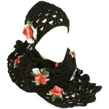 Winter Set Crochet Flower Knit Beanie Skull Ski Cap Hat with Scarf Shawl Black