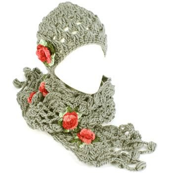 Winter Set Crochet Flower Hand Knit Beanie Skull Ski Cap Hat with Scarf Gray