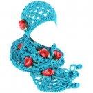 Winter Set Crochet Flower Hand Knit Beanie Skull Ski Cap Hat w/ Scarf Turquoise