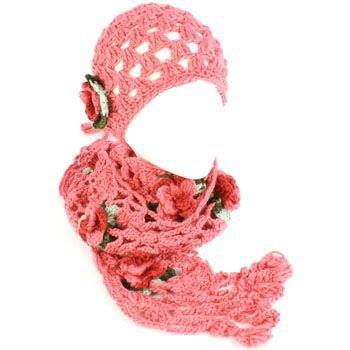 Winter Set Crochet Flower Hand Knit Beanie Skull Ski Cap Hat and Scarf Pink