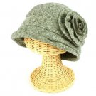 Girls 6+ Winter Cloche Crushable Foldable Bucket Big Flower Church Cap Hat Gray