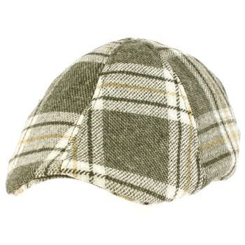 Men's Winter Duck Bill Curved Ivy Cabby Driver Tartan Plaid Hat Cap Charcoal M