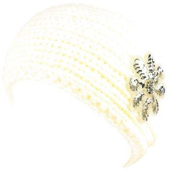 Kids 6+ Size 6+ Sequins Adjustable Hand Knit Headwrap Headband Ski Ivory 6-1/4