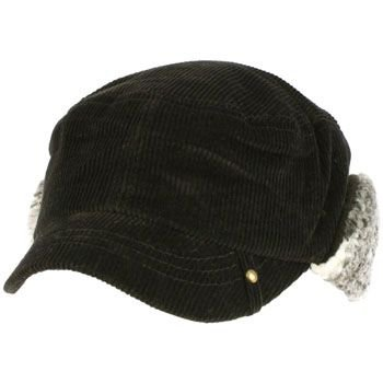 Winter Corduroy Sherpa Plaid Earflaps Cadet Military Castro Ski Hat Cap Black