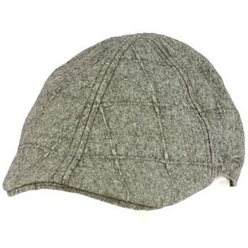 Men's Wool Blend Winter Duck Bill Curved Ivy Cabby Driver Plaid Hat Cap Gray