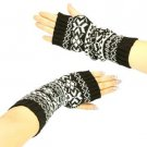 Winter Thumb Hole Knit Hand Arm Warmer Fingerless Snowflake Long Gloves Black