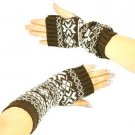 Winter Thumb Hole Knit Hand Arm Warmer Fingerless Snowflake Long Gloves Dk Brown