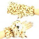 Winter Soft Fuzzy Furry Faux Fur Br Tiger Flip Fingerless Mitten Gloves Glomitt