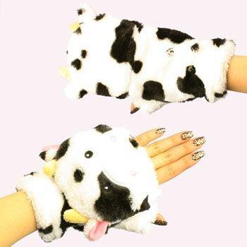 Winter Soft Fuzzy Furry Faux Fur Cow Flip Fingerless Mitten Snow Gloves Glomitt