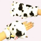 Winter Soft Fuzzy Furry Faux Fur Cow Flip Fingerless Mitten Snow Gloves Glomitt