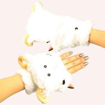 Winter Soft Fuzzy Furry Faux Fur Lamb Flip Fingerless Mitten Gloves Glomitt