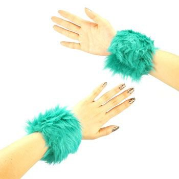2 Winter Faux Fake Fur Wrist Arm Warmer Cuff Slap On Wristband Fuzzy Furry Teal
