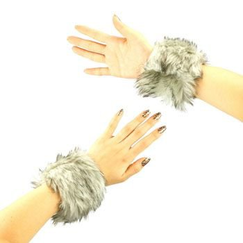 2 Winter Faux Fake Fur Wrist Arm Warmer Cuff Slap On Wristband Fuzzy Furry Gray